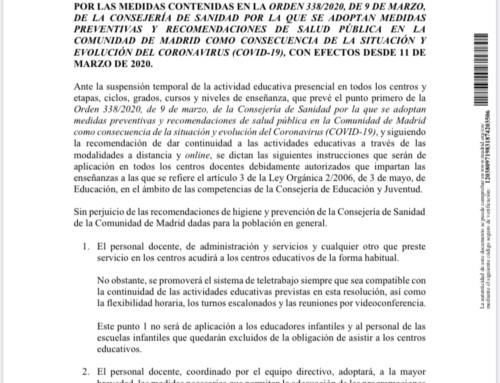 ¡¡COMUNICADO URGENTE DE LA COMUNIDAD DE MADRID!! – COVID-19