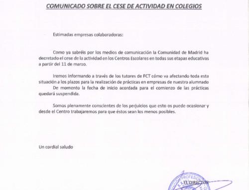 ¡¡COMUNICADO URGENTE A EMPRESAS COLABORADORAS!! – COVID-19